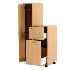 Bristol Maid Bedside Cabinet - Beech - Left Hand Wardrobe - Drawer - Large Lower Drawer - Adjustable Shelf - Cam Lock