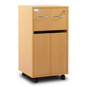 Bristol Maid Bedside Cabinet - Beech - Two Top Drawers - Cupboard - Adjustable Shelf - One Drawer - Cam Lock