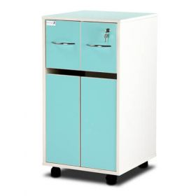 Bristol Maid Bedside Cabinet - Grey White  - Two Top Drawers - Cupboard - Adjustable Shelf - One Drawer - Cam Lock