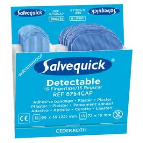 Salvequick Sterile Blue Detectable Plaster/Fingertips, Single Refill (30 Plasters)