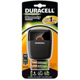 Duracell Speedy 1 Hour Battery Charger with 2 x AA and 2 x AAA Stay-Charged Batteries