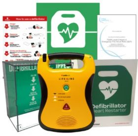 Defibtech Lifeline AED Semi Automatic (7 Year Battery) with High Impact Illuminated Cabinet - Dental Package