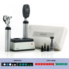 Heine F.O Ophthalm., Otoscope & Speculae Set,Rechargeable Handle & Charger, Hard Case