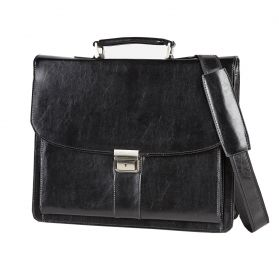 "Leather 16"" Laptop Briefcase; FI2577; Black"