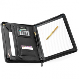 Leather A4 Zip Folder with Calculator; FI6512BL; Black