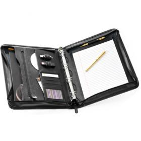 Leather A4 Zip Conference Folder; FI6518BL; Black
