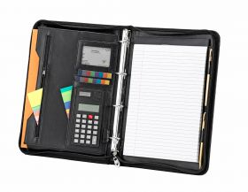 A4 Zipped Folder with Calculator; FI6528; Black