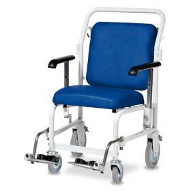 Bristol Maid Portering Chair - Front Steer - Nesting - Hinged Foot Rests - Vinyl - Bristol Blue