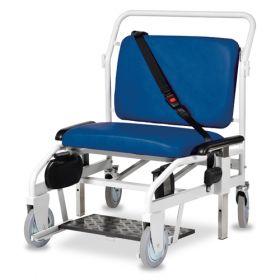 Bristol Maid Portering Chair - Bariatric - Rear Steer - Sliding Foot Rest - Vinyl - Bristol Blue