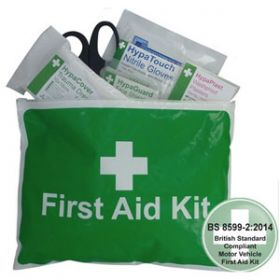Value Motor Vehicle First Aid Kit Small BS 8599-2 in Vinyl Zipper Wallet