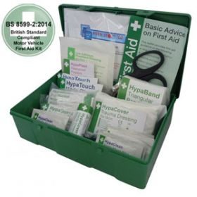 Motor Vehicle First Aid Kit Medium BS 8599-2 in Square Green Case