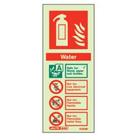 Photoluminescent Fire Extinguisher Water Sign