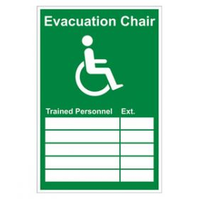 Evacuation Chair Trained Personnel Sign