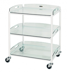 Dressing Trolley – 3 Glass Effect Safety Trays Sun-DT6G3