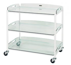 Dressings Trolley – 3 Glass Effect Safety Trays Sun-DT8G3