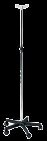 Chrome Steel Drip Stand, Plastic Base, 2 Plastic Hooks