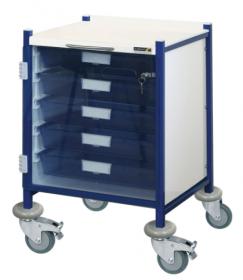 VISTA 40 Blue Colour Concept Clinical Trolley - 5 Single Depth Blue Trays