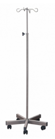 Brushed Stainless Steel Drip Stand & Weighted Base, 4 Chrome Hooks, Anti-Static Castors