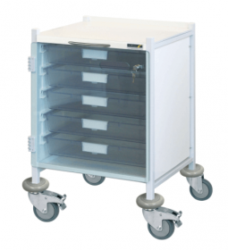 VISTA 40 White Colour Concept Clinical Trolley - 5 Single Depth Clear Trays
