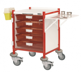 VISTA 40 Red Colour Concept Clinical Trolley - 5 Single Depth Red Trays