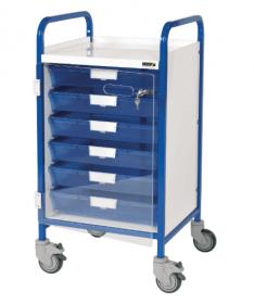 VISTA 50 Blue Colour Concept Clinical Trolley - 6 Single Depth Blue Trays