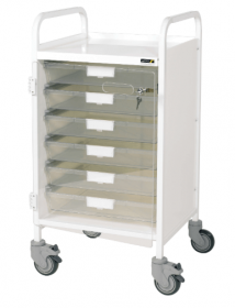 VISTA 50 White Colour Concept Clinical Trolley - 6 Single Depth Clear Trays