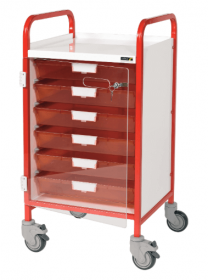 VISTA 50 Red Colour Concept Clinical Trolley - 6 Single Depth Red Trays