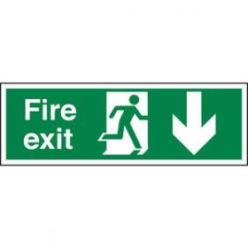 Fire Exit Running Man & Arrow Down Sign, Rigid