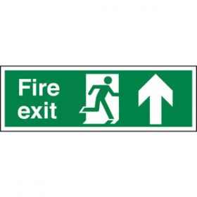 Fire Exit Running Man & Straight Ahead Arrow Sign, Rigid