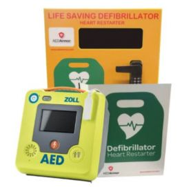 ZOLL AED 3 Semi Automatic with AED Armor Stainless Steel Cabinet - Locked
